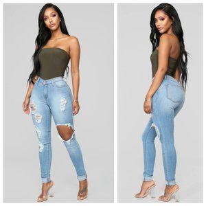 Fashion Nova Destroyed High Waist Skinny Jeans